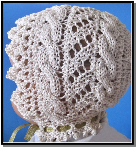 Knit Bonnet Pattern : Knitted Lace Baby Bonnet PDF knitting pattern Cable Road