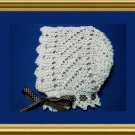 Diagonal Lace Baby Bonnet Victorian style knitting pattern easy to knit PDF