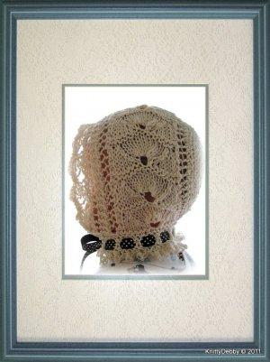 Lace Baby Bonnet knitting pattern PDF Victorian Shell design Original pattern