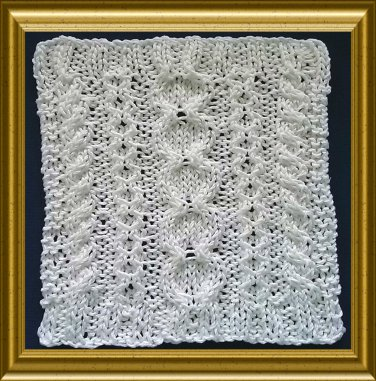 Aran style dish cloth knitting pattern -  Stepping Stones design