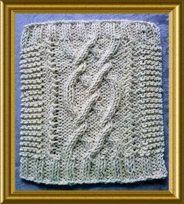 Aran style dish cloth knitting pattern -  Pretzel Twist design