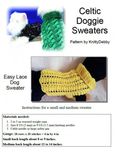 Easy Lace Dog sweater knitting pattern