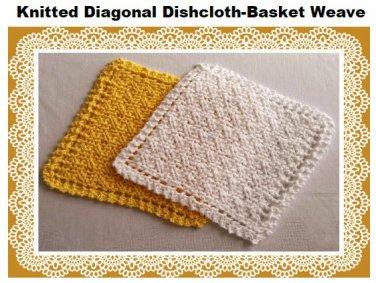 Diagonal Basket Weave Dishcloth knitting pattern PDF