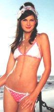0651SM-63031/L: 2 Pc Triangle Bikini Swim Suit with Polka Dot Pattern. Large