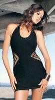 0318L-8077: Halter Seamless Crochet Side Mini Dress