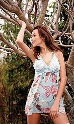 80171-L: 2 Pc. Floral Printed Babydoll with Matching G-string. Large