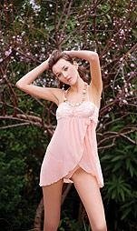 80166-XL: 2 Pc. Mesh and Lace Trim Wrap Babydoll with Matching Thong Panty. XL
