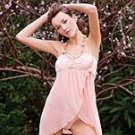 80166-L: 2 Pc. Mesh and Lace Trim Wrap Babydoll with Matching Thong Panty. Large
