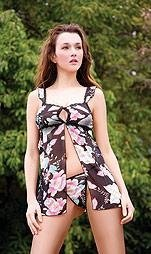80164-M: 2 Pc. Floral Print Babydoll with Matching G-string. Medium