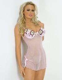 80046-L: Soft Nylon Babydoll with Matching Thong. Large