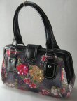 0532HB-88932: Satchel Framed Handbag with Velvet & Sequin Floral Design