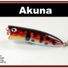 "[BP 147-81]2.2"""" Holographic Red Leopard Bass Trout Topwater Fishing Lure Popper"
