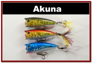 "[BP 3 FLA 48 D]Lot of 3 2.4""""  Bass Topwater Fishing Lure Popper Bait D"
