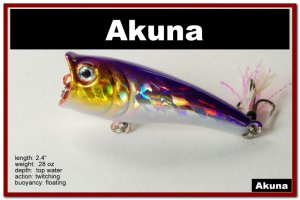 "[BP 48-82]2.4"""" Holographic Fuchsia Bass Topwater Fishing Popper"