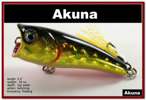 "[BP 48-86]2.4"""" Golden Shiner Bass Topwater Fishing Lure Popper"
