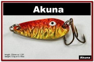 """[SP 42-84-2]1.3"""""""" Mini Holographic Bleeding Gold Bass Pike Trout Casting Spoon Fishing Lure"""
