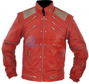 Michael Jackson Beat It Vintage Red Original Leather Jacket