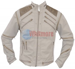 Michael Jackson Beat It Vintage White Faux Leather Jacket