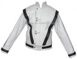Michael Jackson THRILLER White Black Stylish Original Leather Jacket - All Sizes