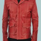 Tyler Durden Brad Pitt Fight Club Red Stylish Original Leather Coat -  All Sizes