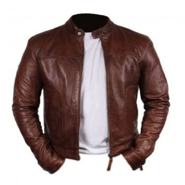 Bomber Rider Slim Fit Stylish Casual Dark Brown Real Leather Jacket