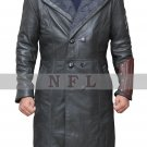 Suicide Squad Jai Courtney Captain Boomerang Black Leather Coat With Grey Fur