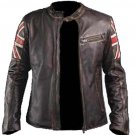 Mens Biker Classic Cafe Racer Union Jack Brown Leather Jacket