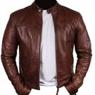 Bomber Rider Slim Fit Casual Stylish Brown Real Leather Jacket