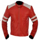 Fight Club Brad Pitt Red & White Biker Leather Jacket