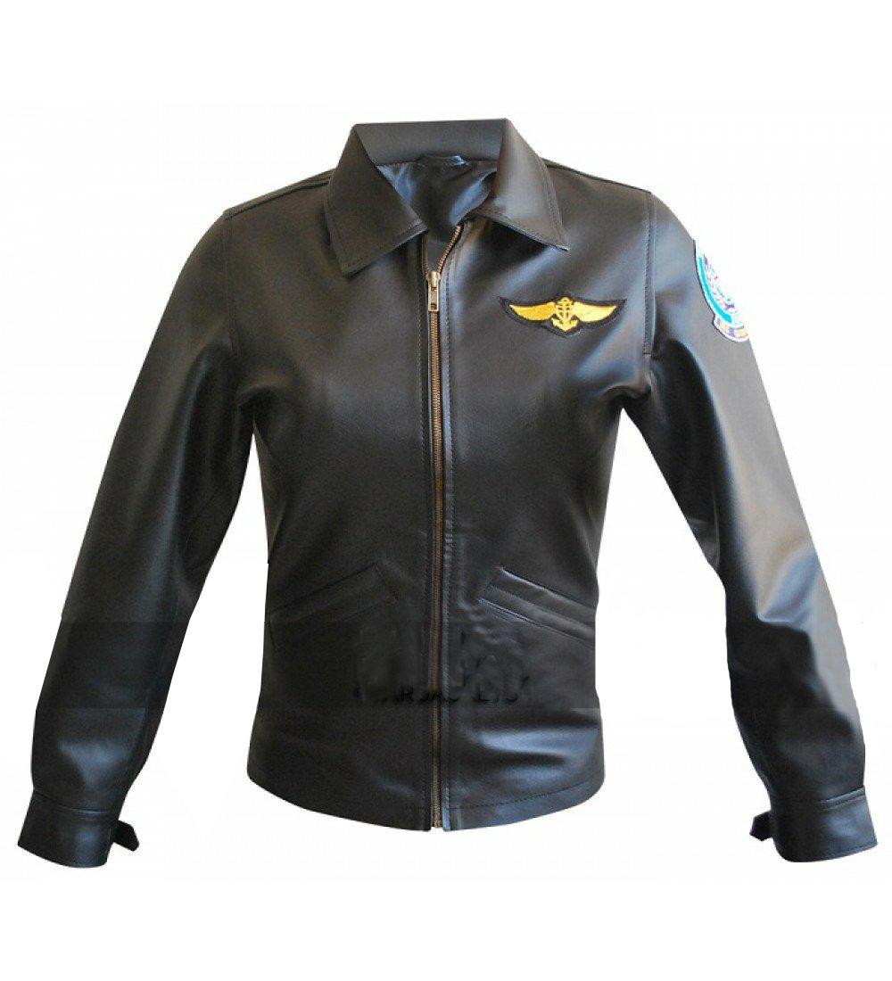 TOP GUN BLACK Ladies Jet Fighter Bomber Navy Air Force Pilot Real Leather Jacket