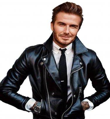 David Beckham Black CowHide Leather Jacket