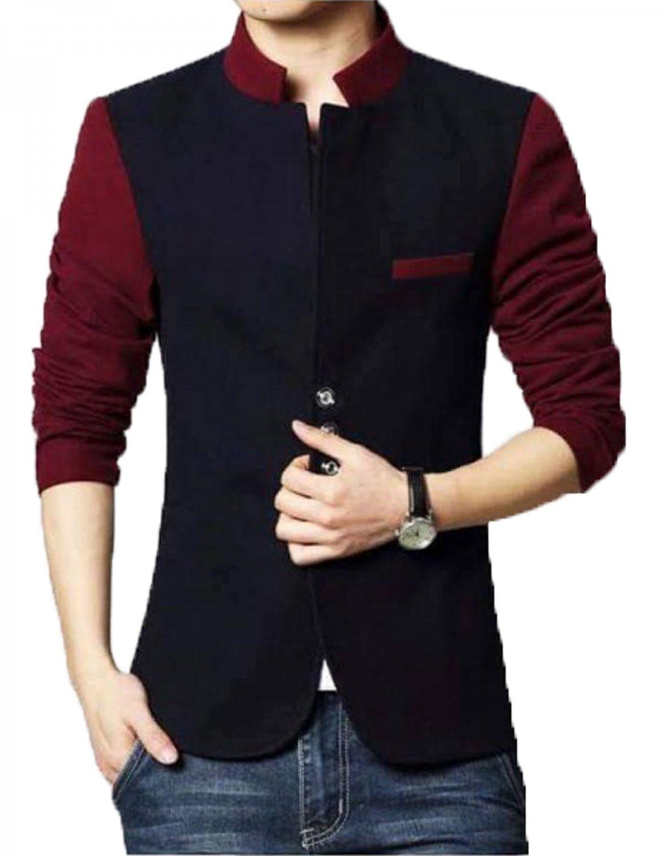 Men Slim Fit Casual Party Wear Fleece Navy Waist Coat Vest