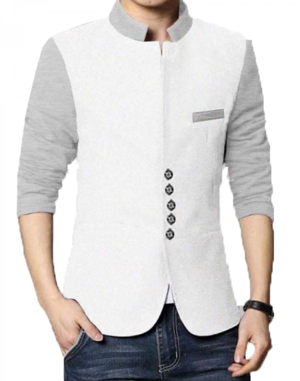 Men Slim Fit Casual Party Wear Fleece White Waist Coat Vest