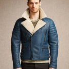 Bomber Rider Slim Fit Casual Stylish Dark Blue Leather Jacket
