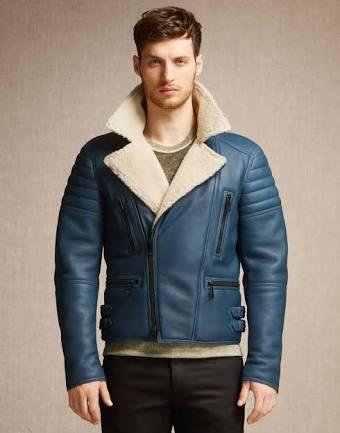 New U-Boot WW2 Navy Genuine Blue Leather Jacket Coat