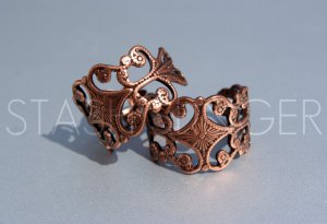 High Quality Adjustable Fancy Antique Copper Ox Filigree Ring (1)