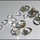 Dainty Vintage Heart Shape Acrylic Cabochons with Matching Adjustable Rings Set LOT (8)