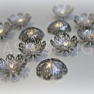 Extra Large Glossy Gunmetal Finish Fancy Filigree Bead Caps (10)