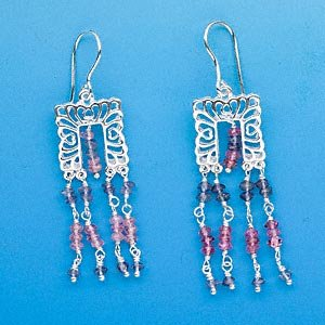 Sterling silver dangle earrings with pink tourmaline and iolite