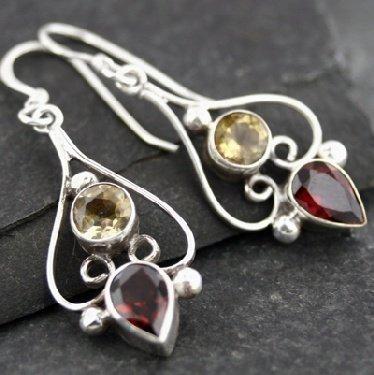 Topaz and Garnet Earrings