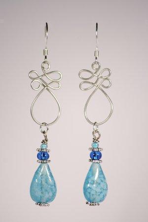 Blue tear drop earrings
