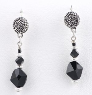 Black jet crystal earrings