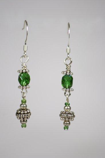 Green czech crystal earrings