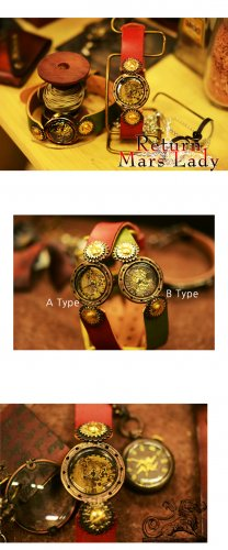 Vintage Steampunk jewelry style handmade watch MARS-L