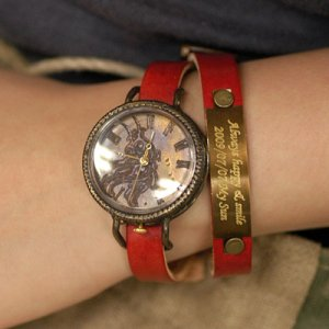 "Bracelets type SteamPunk handmade watch "" MAGOT 2 nameplate"""