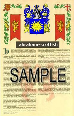 ABRAHAM - SCOTTISH - Coat of Arms - Family Crest - Armorial GIFT! 8.5x11