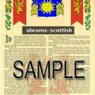 ABRAMS - SCOTTISH - Coat of Arms - Family Crest - Armorial GIFT! 8.5x11