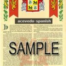 ACEVEDO - SPANISH - Coat of Arms - Family Crest - Armorial GIFT! 8.5x11