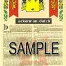 ACKERMAN - DUTCH - Coat of Arms - Family Crest - Armorial GIFT! 8.5x11