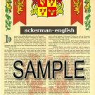 ACKERMAN - ENGLISH - Coat of Arms - Family Crest - Armorial GIFT! 8.5x11